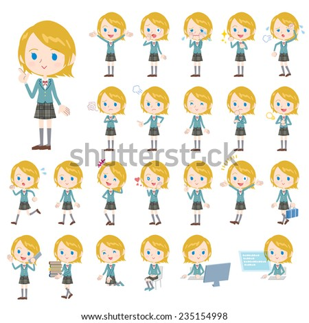 Set of various poses of Caucasian's schoolgirl.