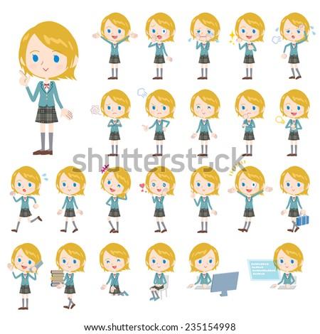 Set of various poses of Caucasian's schoolgirl. - stock vector