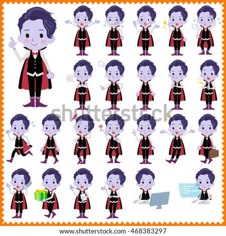Set of various poses of Dracula