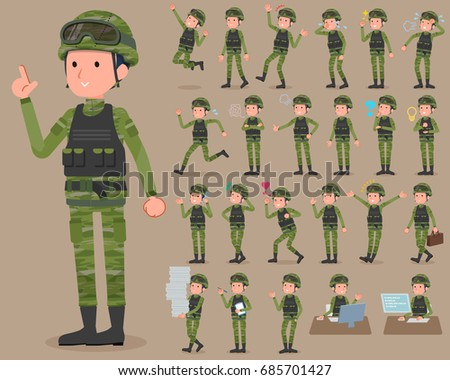 Set of various poses of flat type military wear man_1