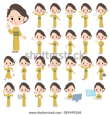 Set of various poses of kimono Yellow ocher women - stock vector