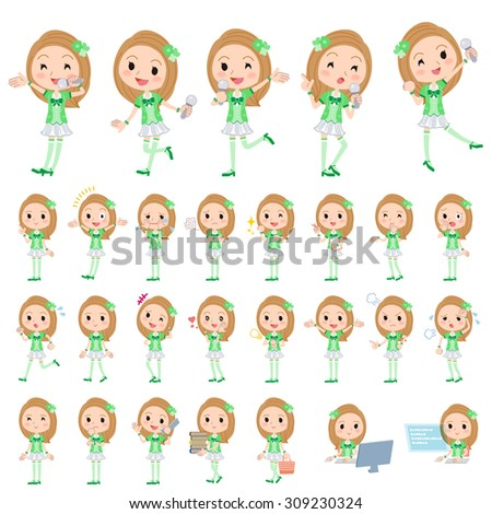 Set of various poses of Pop idol in green costume