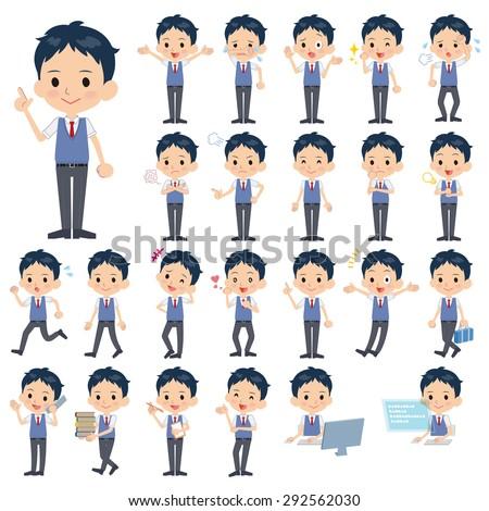 Set of various poses of schoolboy Blue vest short sleeved shirt - stock vector