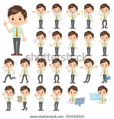 Set of various poses of schoolboy Green short sleeved shirt - stock vector