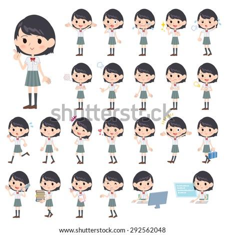 Set of various poses of schoolgirl White short sleeved shirt - stock vector