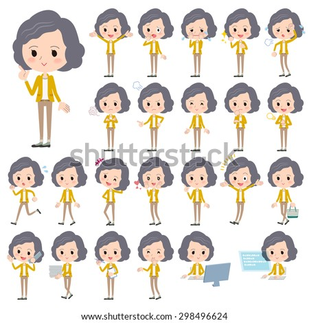 Set of various poses of Yellow jacket Middle woman