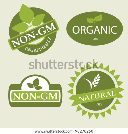 Set of various product labels