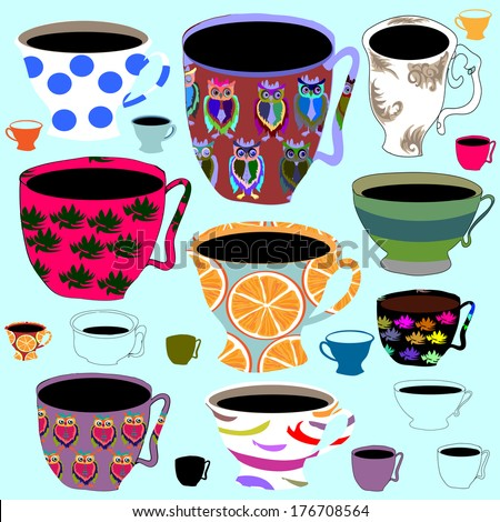Set of various  retro porcelain tea cups, vector illustrations.  - stock vector