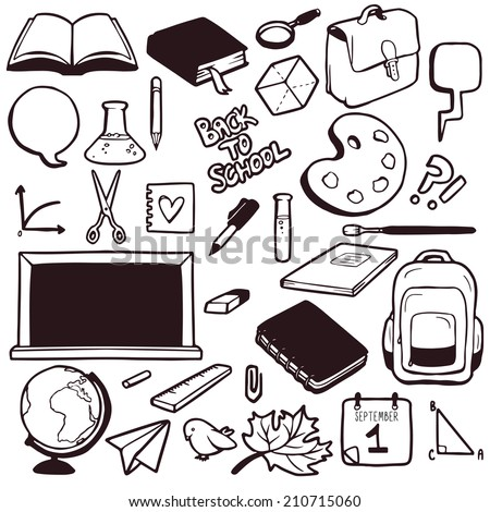 Set of various school elements, hand drawn collection of objects - stock vector