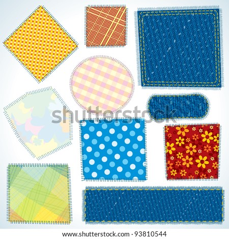 Set of Various Shaped, Isolated Cloth Patches. Vector Illustration - stock vector