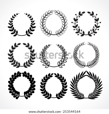 set of various silhouette herbal wreaths to decorate your design works - stock vector
