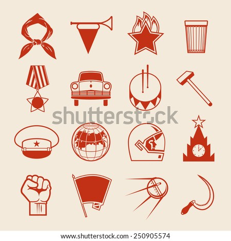 Set of various soviet style design vector elements, symbols, icons and emblems isolated on white background. Russian socialistic culture retro collection - stock vector