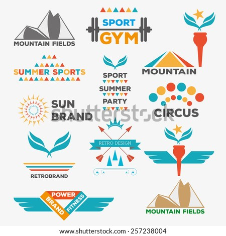 Set of various sports and fitness logo graphics and icons Retro Vintage Labels Logo design vector typography inspiration template set. Old style elements, signs, logos, label, badges and symbols. - stock vector