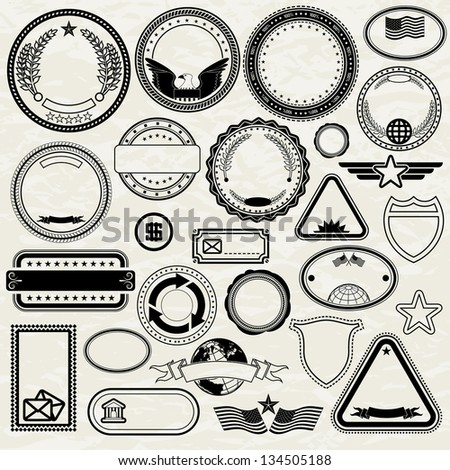 Set of Various Stamp Design. Editable Vector Templates - stock vector