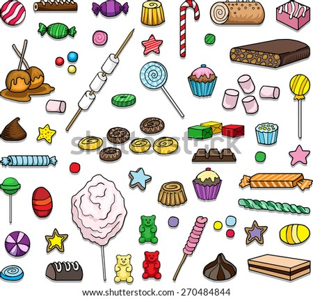 Set of various sweets, hand drawn, vector illustration - stock vector