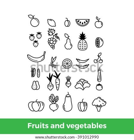 Set of various thin line icons of fruits and vegetables. Broccoli, aubergine, carrot, onion, avocado, pineapple, grapes, strawberries, tomato, pumpkin, paprika, apple, orange. Vector illustration.