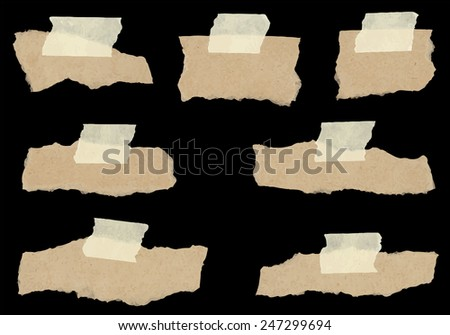 Set of various torn note papers - stock vector