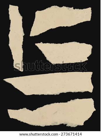Set of various torn note papers on black background. - stock vector