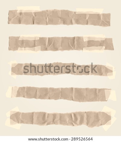 Set of various torn note papers with adhesive, sticky tape - stock vector
