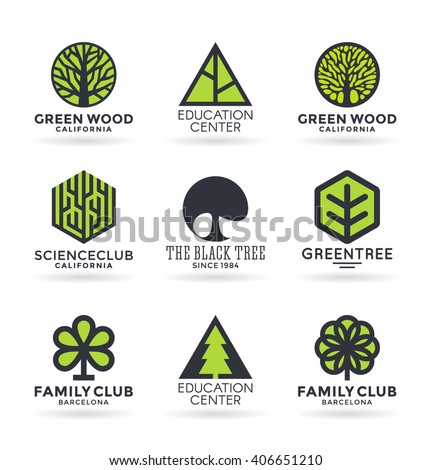 Set of various tree symbols and logo design elements