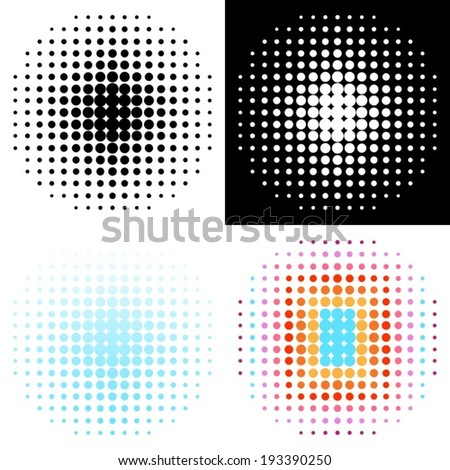 Set of various vector halftone design elements - stock vector