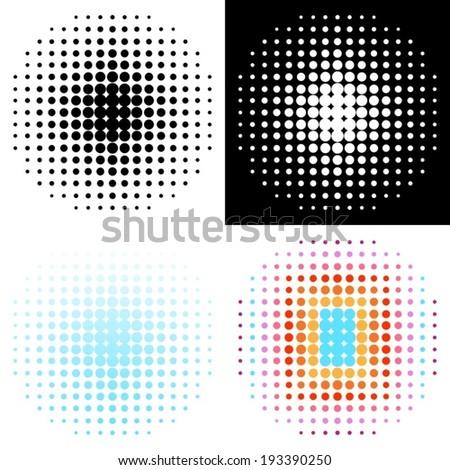 Set of various vector halftone design elements - stock vector