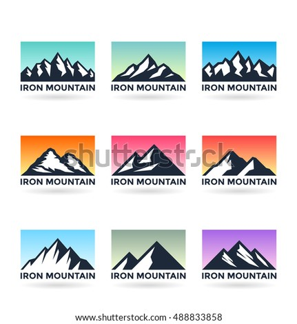 Set of various vector mountains on the multicolored backgrounds. Mountain icons, logo design elements and logotype templates isolated on white background