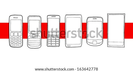 Set of various vector sketch illustrated mobile cell phones - from old to new - stock vector