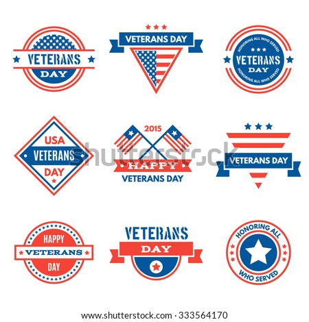 Set Various Veterans Day Graphics Objects Stock Vector 333564170