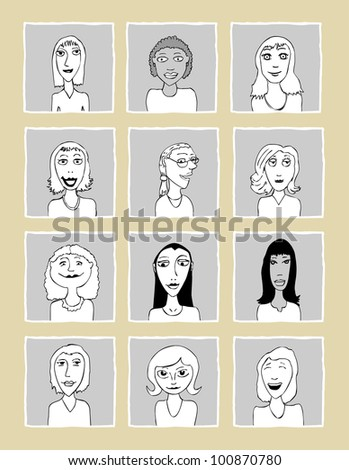 Set of various women doodle faces - one of a series of similar images