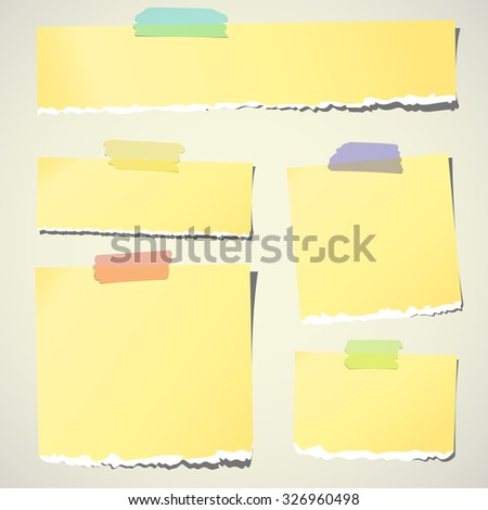 Set of various yellow torn note papers with adhesive tape on background - stock vector