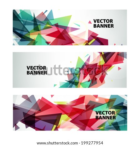 set of vector abstract colorful banners - stock vector