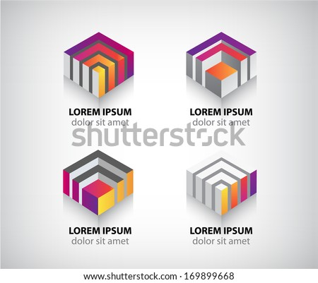 set of vector abstract colorful geometric cube 3d icons, logos - stock vector