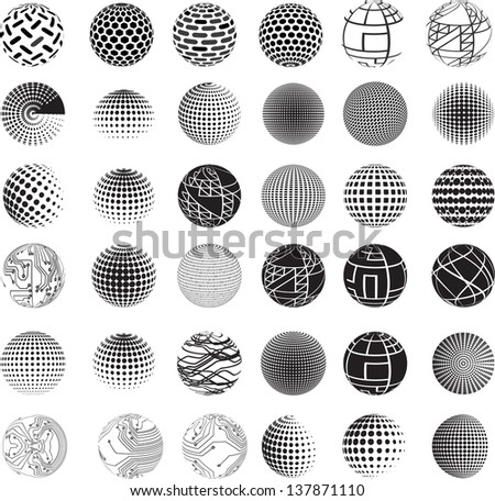 Set of vector abstract globes - stock vector