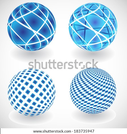 Set of vector abstract globes