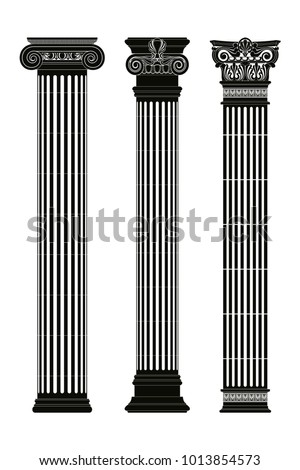 Set of vector ancient Greek columns with capitals isolated on a white background.