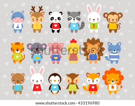 Set of vector animals in cartoon style. Cute animals on a gray background. A collection of small animals in the children's style. Africa, tropics, antarctica, farm, forest. - stock vector