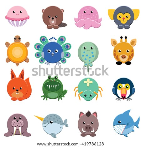 Set of vector animals isolated on white - stock vector