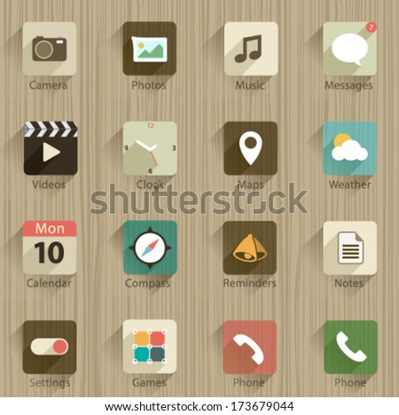Set of Vector Application Web Icons and logos in Flat Design with Shadows on a wooden background for Network and mobile devices. - stock vector