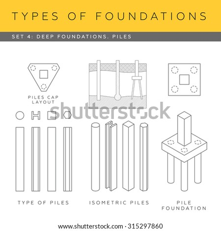 blueprints deep foundations types of piles footings stock vector