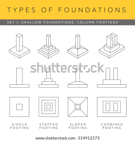 Set vector architectural blueprints shallow foundations for What types of foundations are there