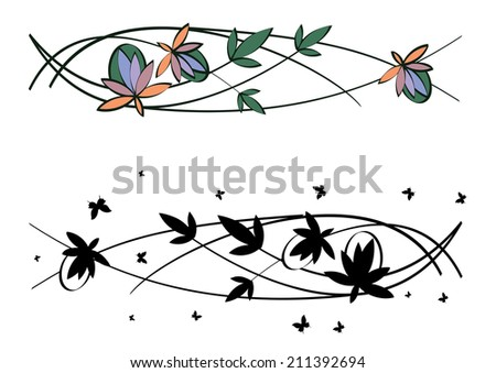 set of vector art nouveau abstract floral patterns - stock vector
