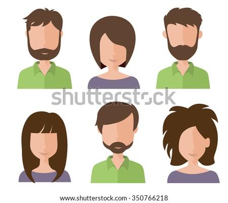 Set of vector avatars. Flat style. Avatars icons. - stock vector