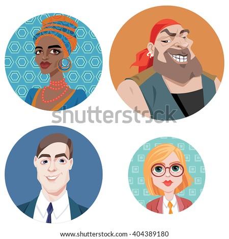 Set of vector avatars in cartoon style.  - stock vector