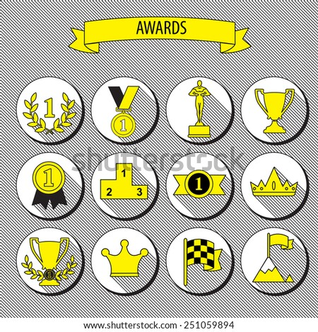 set of vector award success and victory flat icons on round web buttons with trophies cups ribbons crown diadem medals medallions wreath and a podium - stock vector