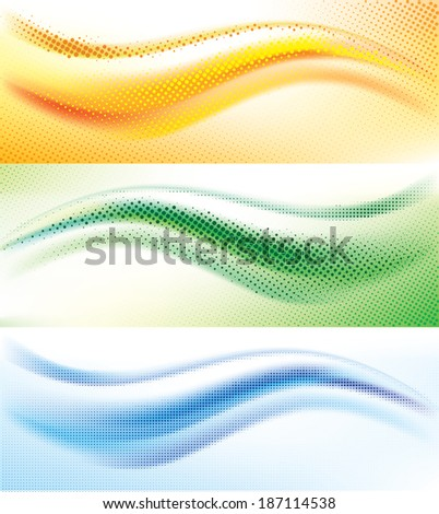 Set of vector background with abstract halftone wave - stock vector