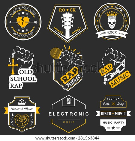Set of vector badges and logos of rock music and rap classical music, electronic music and disco. The collection of symbols and emblems for printing T-shirts, festivals and parties. - stock vector