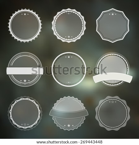 Set of vector badges in retro, vintage style on the green background - stock vector
