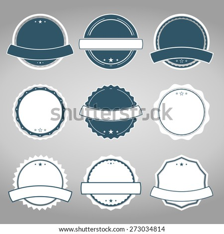 Set of vector badges in retro, vintage style on the grey background - stock vector