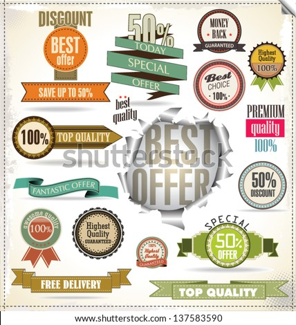 Set of vector badges, labels and ribbons - stock vector